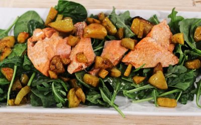 Salmon Arugula Salad with Roasted Golden Beets